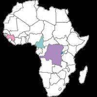 kaart van afrika met Congo, Guinee, Kameroen en Rwanda gekleurd