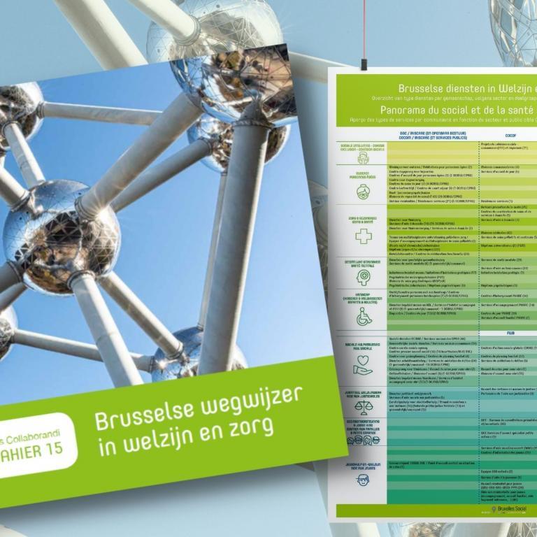 Cover cahier Brusselse wegwijzer in welzijn en zorg en de bijhorende poster