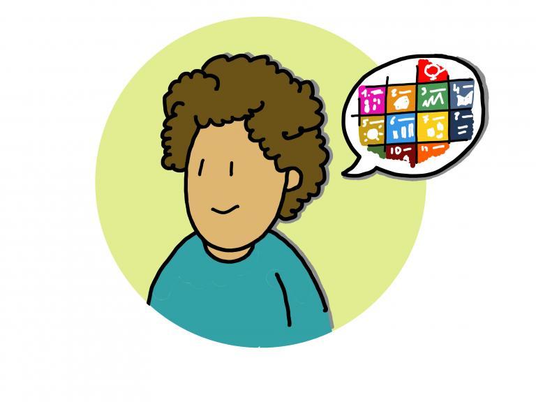 figuurtje met tekstballon SDG's